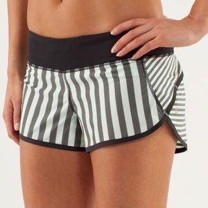 Lululemon Mint Green Black Stripe Speed Shorts